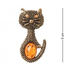 AM-2095 Брошь «Кошка Скитлз»  латунь, янтарь