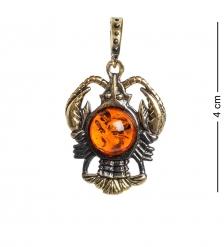 AM- 678 Подвеска  Знак зодиака-Рак   латунь, янтарь