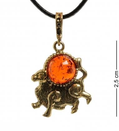 AM- 682 Подвеска  Знак зодиака-Телец   латунь, янтарь