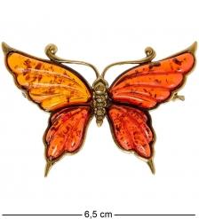AM-2082 Брошь «Бабочка Нитта»  латунь, янтарь
