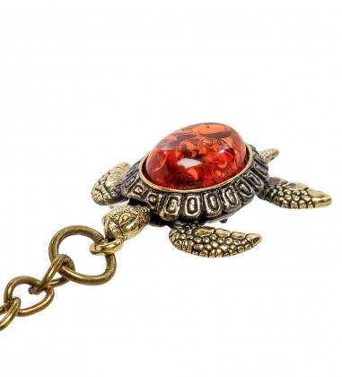 AM-2076 Брелок  Черепаха Живчик   латунь, янтарь