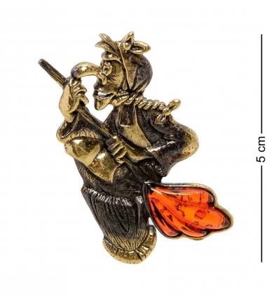 AM-2079 Брошь  Баба Яга в ступе   латунь, янтарь