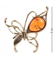 AM-2080 Брошь «Бабочка Грация»  латунь, янтарь