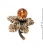 AM-2100 Брошь  Листик с ягодкой   латунь, янтарь
