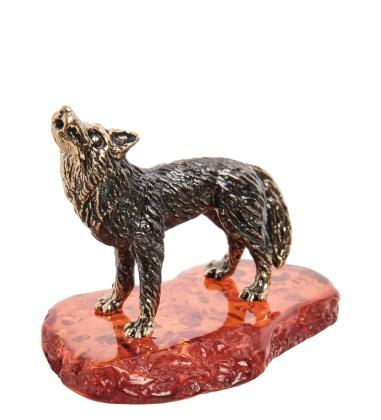 AM-1387 Фигурка  Волк, воющий на луну   латунь, янтарь