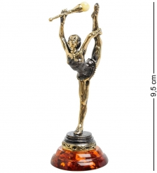 AM-1404 Фигурка «Гимнастка с булавой»  латунь, янтарь