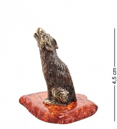 AM-1407 Фигурка  Волк    латунь, янтарь