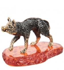 AM-1408 Фигурка «Волк» мал.  латунь, янтарь