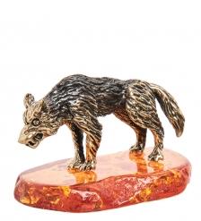 AM-1409 Фигурка «Волк»  латунь, янтарь