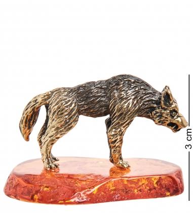 AM-1409 Фигурка  Волк   латунь, янтарь