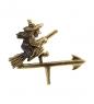 AM-1412 Фигурка  Флюгер Баба Яга к башне   латунь, янтарь