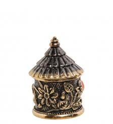 AM-1429 Наперсток «Цветочный домик»  с магнитом  латунь, янтарь