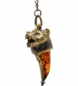 AM-1452 Брелок  Клык медведя   латунь, янтарь