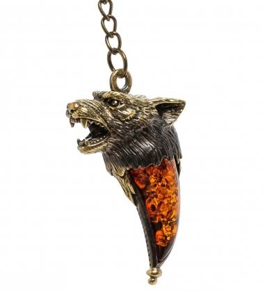 AM-1454 Брелок  Клык волка   латунь, янтарь