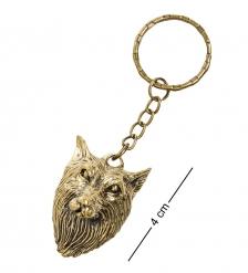 AM-1455 Брелок «Волк»  латунь, янтарь