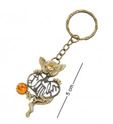 AM-1463 Брелок «Кот Француз»  латунь, янтарь