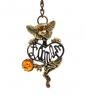 AM-1463 Брелок Кот Француз  латунь, янтарь
