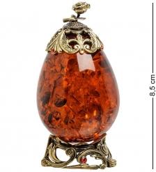 AM-1473 Фигурка «Яйцо с розой»  латунь, янтарь
