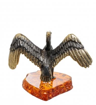 AM-1474 Фигурка  Пеликан   латунь, янтарь