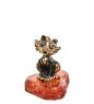 AM-1492 Фигурка  Кошечка   латунь, янтарь