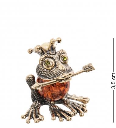 AM-1495 Фигурка  Царевна-лягушка   латунь, янтарь