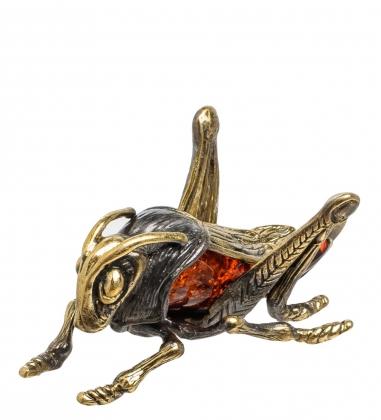 AM-1497 Фигурка  Кузнечик   латунь, янтарь