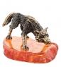 AM-1502 Фигурка Волк на охоте мал.  латунь, янтарь