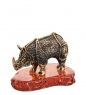 AM-1503 Фигурка  Носорог   латунь, янтарь