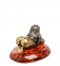 AM-1504 Фигурка  Берегиня   латунь, янтарь