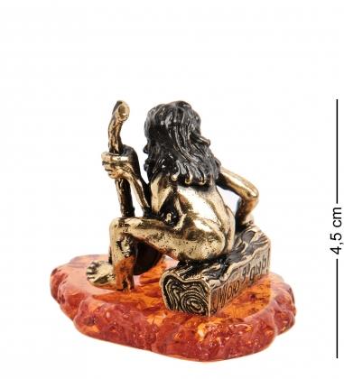 AM-1508 Фигурка  Дед Банщик   латунь, янтарь