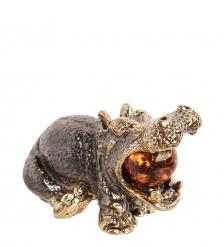 AM-1510 Фигурка «Гиппопотам с шариком»  латунь, янтарь