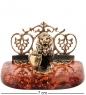 AM-1514 Фигурка «Визитница Лев со щитом»  латунь, янтарь