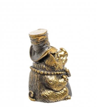 AM-1517 Фигурка Колокольчик-поросенок в шляпе  латунь
