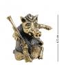 AM-1518 Фигурка  Колокольчик-кабан с ружьем   латунь