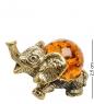 AM-1528 Фигурка  Слоненок с шаром   латунь, янтарь