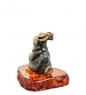 AM-1530 Фигурка  Зайчик   латунь, янтарь