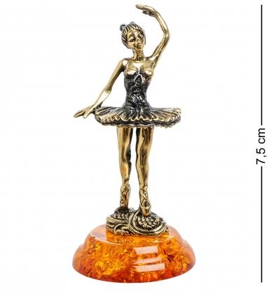 AM-1543 Фигурка  Балерина   латунь, янтарь