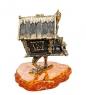 AM-1559 Фигурка  Избушка на курьих ножках   латунь, янтарь