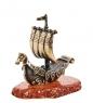AM-1560 Фигурка  Корабль Ладья славянская   латунь, янтарь