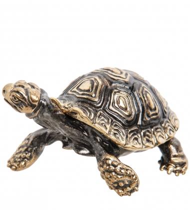 AM-1564 Фигурка  Черепаха   латунь, янтарь
