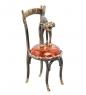AM-1577 Фигурка  Кот на стуле   латунь, янтарь