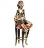 AM-1579 Фигурка  Девушка Тоска   латунь, янтарь