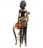 AM-1579 Фигурка «Девушка Тоска»  латунь, янтарь