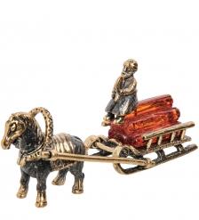 AM-1583 Фигурка «Лошадка с санями»  латунь, янтарь