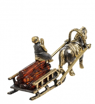 AM-1583 Фигурка  Лошадка с санями   латунь, янтарь