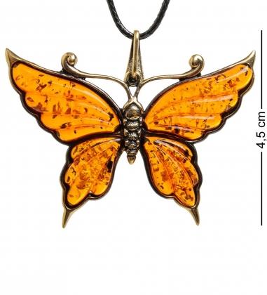 AM-1595 Подвеска  Бабочка Нитта   латунь, янтарь