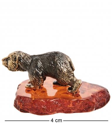 AM-1597 Фигурка  Медведь белый   латунь, янтарь