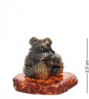 AM-1600 Фигурка «Медведь с медом»  латунь, янтарь