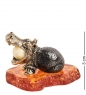 AM-1601 Фигурка  Гиппопотам с шариком   латунь, янтарь