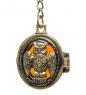 AM-1612 Брелок  Медальон Филин   латунь, янтарь
